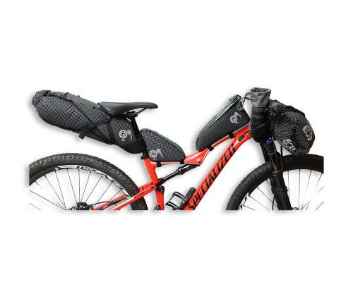ROBO-KIWI Bikepacking Bikepacking Setups - 5 Bag Essential Bikepacking Set DGS - black, turquoise trim