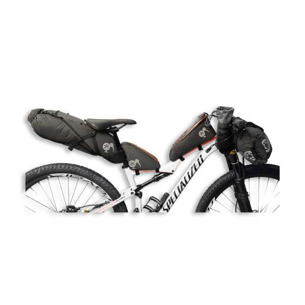 ROBO-KIWI Bikepacking Bikepacking Setups - 5 Bag Essential Bikepacking Set DGS - black, orange trim (3)