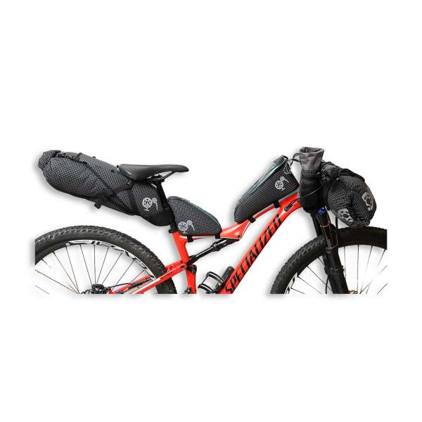 ROBO-KIWI Bikepacking Bikepacking Setups - 5 Bag Essential Bikepacking Set DGS - black, turquoise trim (1)