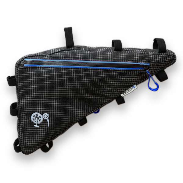 ROBO-KIWI Bikepacking Frame Bags - Triangulator Bag DGS - double, black/blue trim (2)
