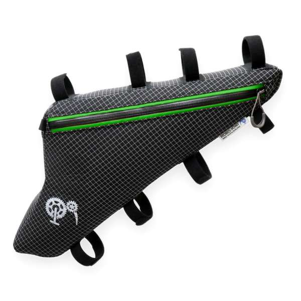 ROBO-KIWI Bikepacking Frame Bags - Triangulator Bag DGS - single, black/green trim (1)
