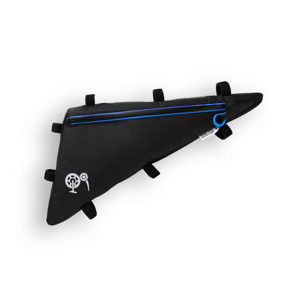 ROBO-KIWI Bikepacking Frame Bags - Triangulator XP - single, black/blue trim (1)