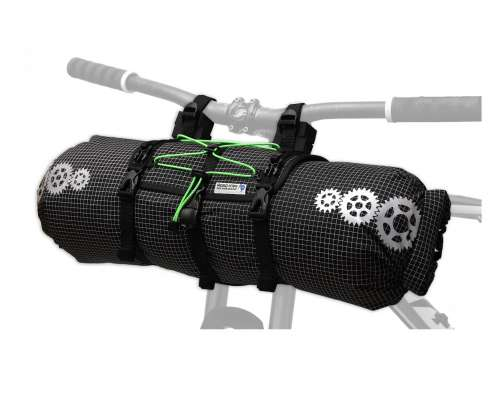 ROBO-KIWI Bikepacking Handlebar Bags - Front Harness + Dry Bag DGS - black/green trim