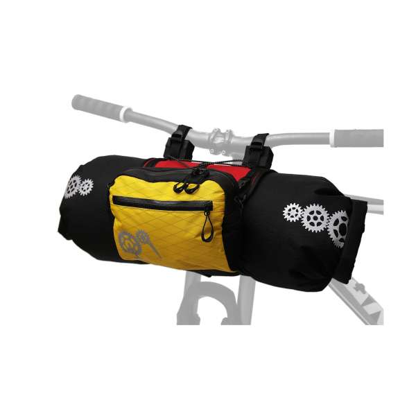 ROBO-KIWI Bikepacking Handlebar Bags - Front Harness + Dry Bag + Cafe Bag XP - red/yellow (2)