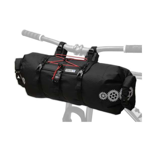 ROBO-KIWI Bikepacking Handlebar Bags - Front Harness + Dry Bag XP - black/red trim (3)