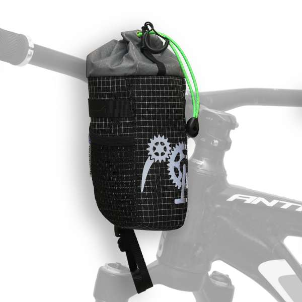 ROBO-KIWI Bikepacking Stem Bags - Goodie Bag DGS - black/green trim (2)