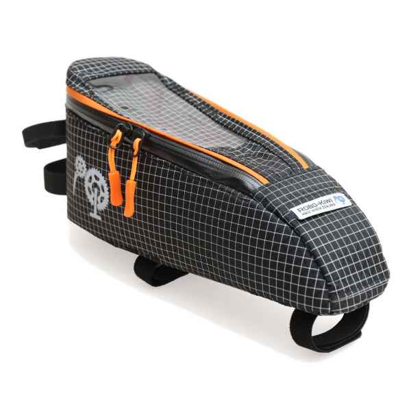 ROBO-KIWI Bikepacking Top Tube Bags - Cockpit Bag DGS - large, black, burnt orange trim (4)