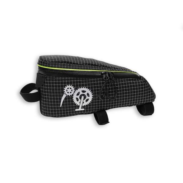 ROBO-KIWI Bikepacking Top Tube Bags - Cockpit Bag DGS - black/lime green trim (3)