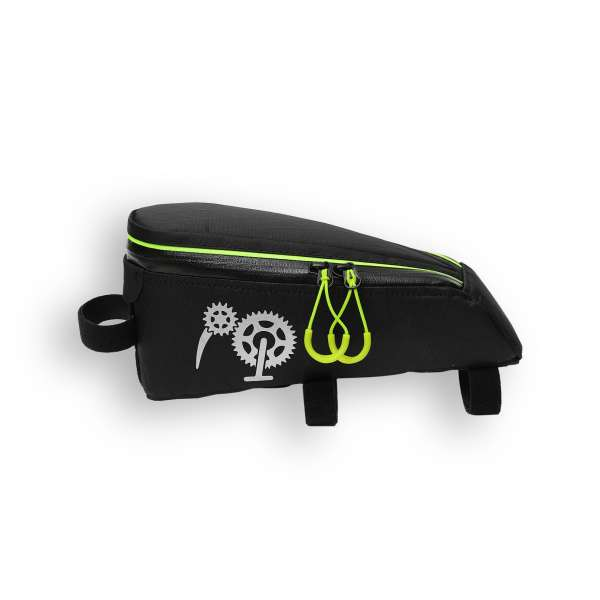 ROBO-KIWI Bikepacking Top Tube Bags - Cockpit Bag XP - black/lime green trim (1)