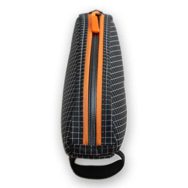 ROBO-KIWI Bikepacking Top Tube Bags - Macgyver Bag DGS - black/burnt orange trim, front view (4)